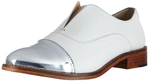 Buffalo London 1058-07 T Cow Mirror - Mocasines Mujer Blanco - Weiß (WHITE 17)