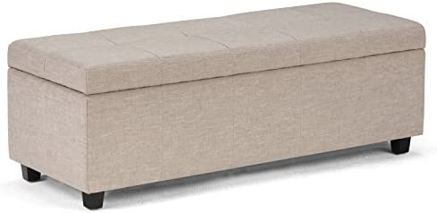 SIMPLIHOME Castleford 48 inch Wide Rectangle Lift Top Storage Ottoman