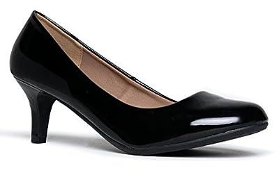 J. Adams Eclair Kitten Heel - Classic Round Toe Shoes - Dress Work Low Pumps