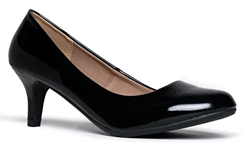 J. Adams Eclair Kitten Heel - Classic Round Toe Shoes - Dress Work Low Pumps