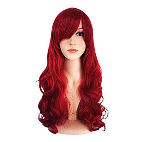 Wig, Ladies Red Long Paragraph Partial Big Wave Prostitute Wig -