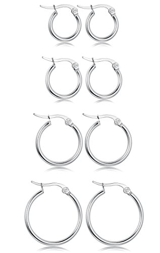 LOYALLOOK Stainless Steel Rounded Small Hoop Earrings Set for Women Nickel Free 4 Pairs White