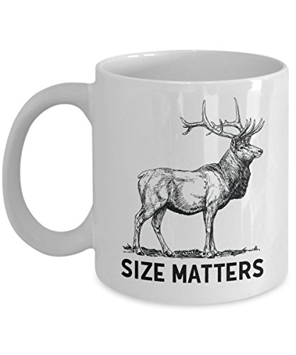 Deer Hunting Mug - Size Matters - Coffee Cups for Men - Cool Hunter Gifts
