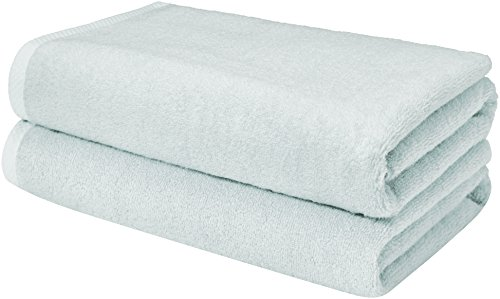 AmazonBasics Quick-Dry Towels, Bath Sheet Ice Blue