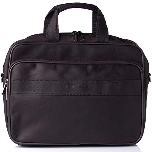 "Alpine Swiss Messenger Bag Colombian Leather 15.6"" Laptop Briefcase ()"
