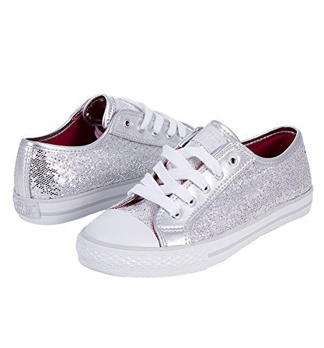 Child Sequin Low Top Sneaker,DISCOGSIL03.0,Silver,03.0