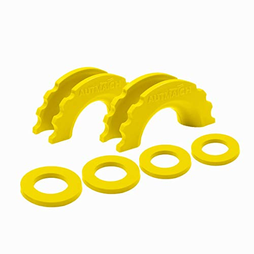 AUTMATCH Pack of 2 D-Ring Shackle Isolators Washers Kit 2 Rubber Shackle Isolators and 4 Washers Fits 3/4 Inch Shackle Gear Design Rattling Protection Shackle Cover Yellow