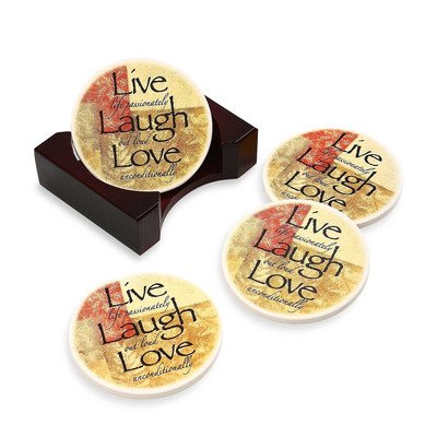 Live, Laugh, Love Rose Coaster (Set of -