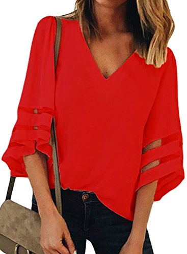 (BLENCOT Womens Red Ladies Sexy V Neck 3 4 Sleeve Chiffon Blouse Shirt Solid Patchwork Loose Flowy Tops Medium)