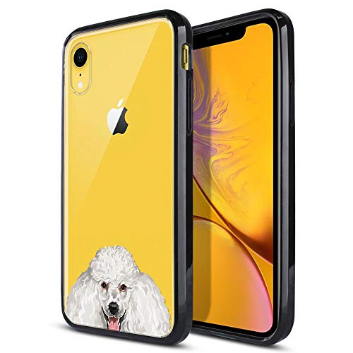 FINCIBO Case Compatible with Apple iPhone XR 6.1 inch, Slim Shock Absorbing TPU Bumper + Clear Hard Protective Case Cover for iPhone XR - White Standard Poodle Puppy ()