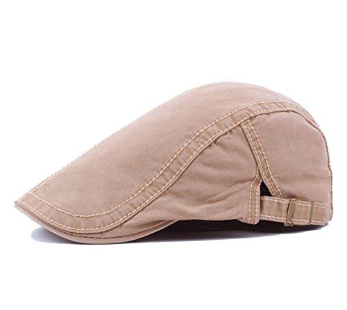 Men's Cotton Flat Snap Hat Ivy Gatsby Newsboy Hunting Cabbie Driving Cap (Khaki)