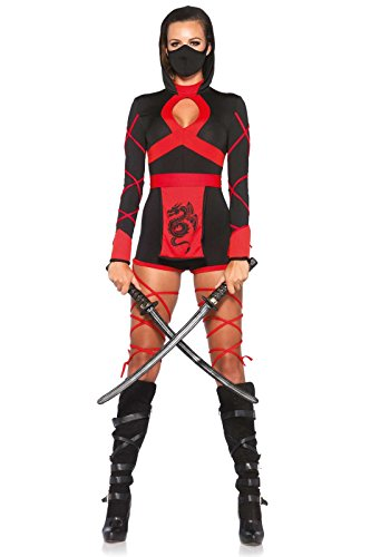 [Leg Avenue Women's 3 Piece Dragon Ninja Costume, Black/Red, Small] (Ninja Dragon Costumes)