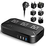 Power Converter 2300W International Travel Voltage Converter 220v/240v to 110v/120v Step Down Transformer w/ 4 USB 3 AC Outlets 7 Worldwide Plug Adapters EU/US/AU/IT/UK/India/South Africa for Hair Dryer Cell Phone Tablet Camera Laptop and More Electronics