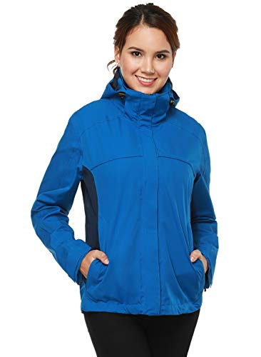 (MIERSPORTS Women's Lightweight Rain Jacket Front-Zip Waterproof Raincoat with Removable Hood, Windbreaker for Hiking, Light Blue/Navy, M)