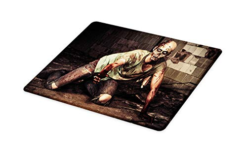 Ambesonne Zombie Cutting Board, Halloween Scary Dead Man in the Old Building with Bloody Head Nightmare Theme, Decorative Tempered Glass Cutting and Serving Board, Large Size, Grey Mint Peach]()