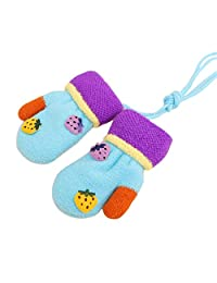 Blue Unisex Baby Winter Gloves Mittens With String [Strawberry] 1 Pair