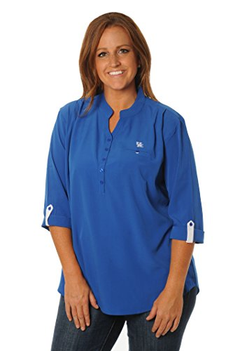NCAA Kentucky Wildcats Women's Button Down Tunic Top, Large, Royal Blue/White