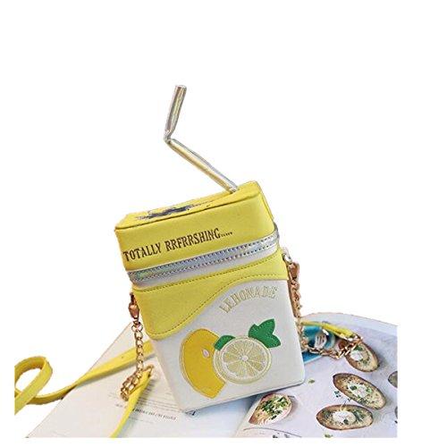 OURBAG Mujer Holográfico Láser Bolsa de hombro Holograma Bolsa de cuerpo cruzado Bolsa para la escuela amarillo Amarillo