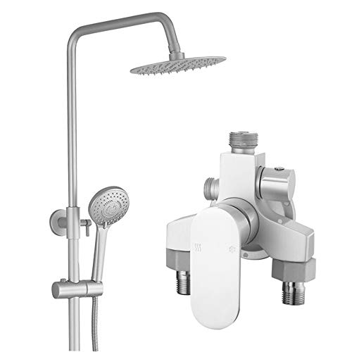 (BEIQIHHY Bathroom Shower Set Three Gears Water Accessories Complete Hand Spray Mixer Set Space Aluminum, A Section)