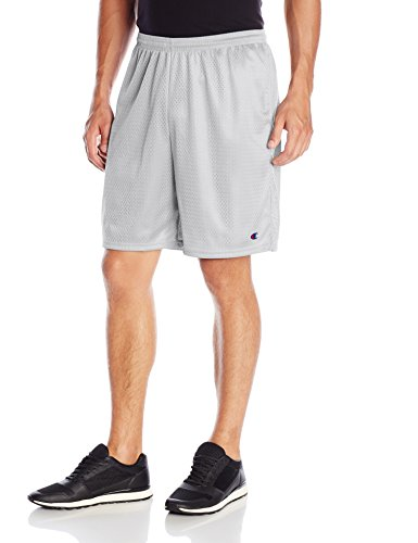 Champion Men's Big and Tall Long Mesh Short with Pockets, Athletic Gray, ()