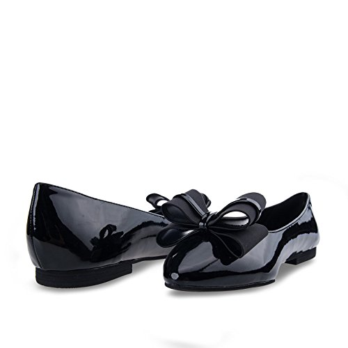 Bf Unique Robe De Bow Double Robe Des Femmes Sur Les Chaussures Plates Noir