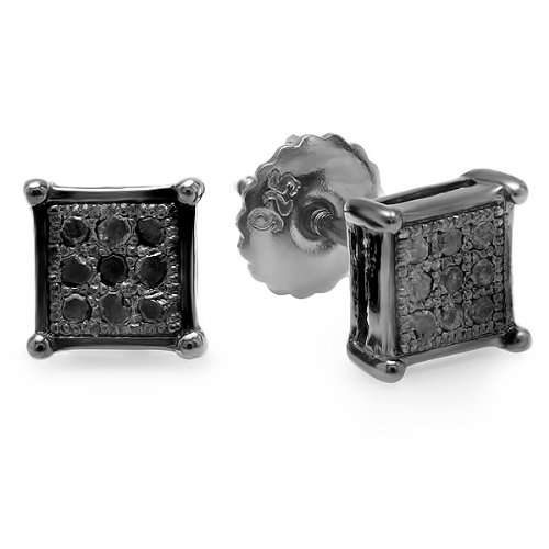 0.10 Carat (ctw) Black Rhodium Plated Silver Real Black Diamond Square Shaped Mens Stud Earrings 1/10 (Diamond Square Shaped Earrings)