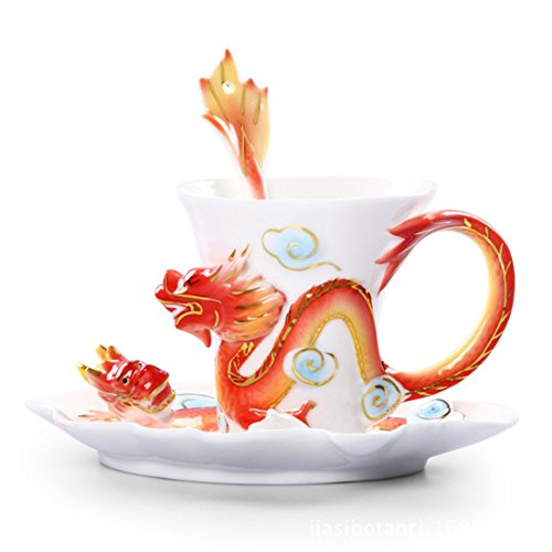 Moyishi Handmade porcelain enamel exquisite dragon and phoenix tea coffee cup set with saucer and spoon