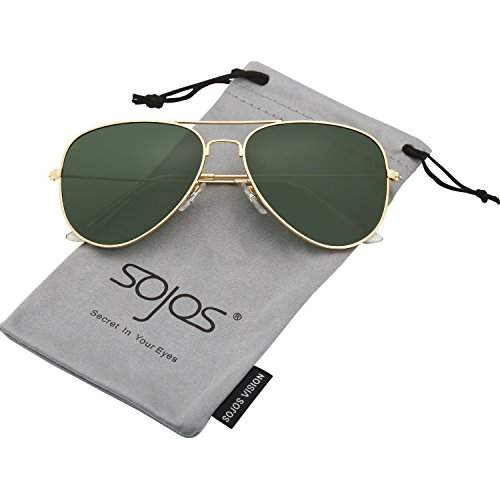 SojoS Classic Aviator Polarized Sunglasses Mirrored UV400 Lens SJ1054 With Gold Frame/G15 - Lenses G15