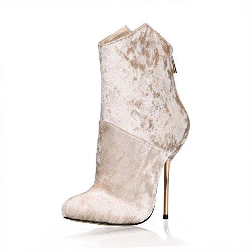 Best 4U Zapatos De Mujer Botas Cortas Otoño Invierno Terciopelo 12.4CM Botas De Tacón Al