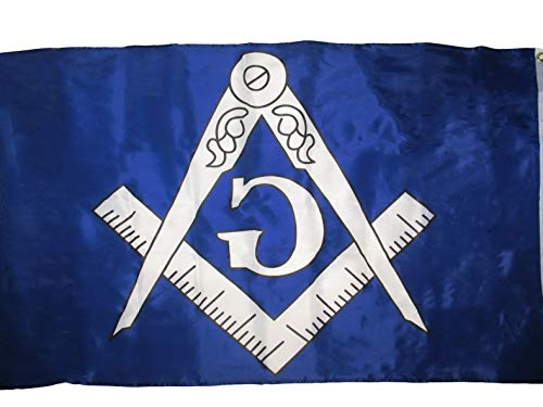 White Cap Flagpole Socket - Mikash 3x5 Blue and White Masonic Lodge Mason Flag 3x5 Freemason Banner Grommets | Model FLG - 2353