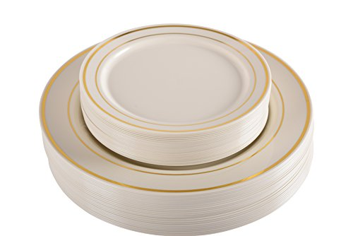 "Premium Hard Plastic Gold Rimmed Ivory Plate Set By Oasis Creations - 25x9'' & 25x6"" - Disposable or Washable & Reusable - Party Supplies For Birthdays, Celebrations, Buffets, Fiestas & More"
