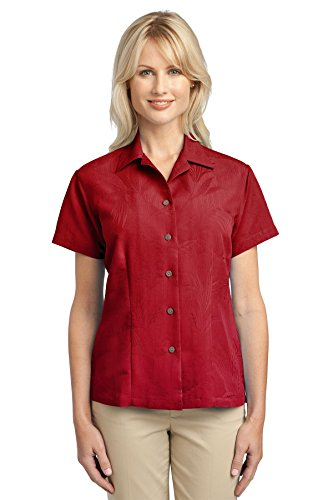 Port Authority Women's Patterned Easy Care Camp Shirt S Persian Red (Shirt Authority Camp Care Easy)