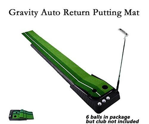 Xinxin Indoor Outdoor Golf Set Ball Auto Return Putting Mat, Professional Portable Practice Mini Golf Trainer Indoor Putting Green with Return Tray-11.81″118.11″
