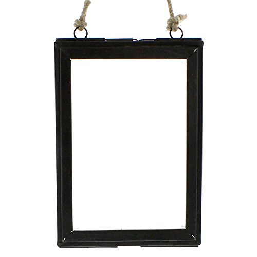 5x7 Vertical Rustic Metal Hanging Ornament Frame | Photo Picture Pressed Flower Glass