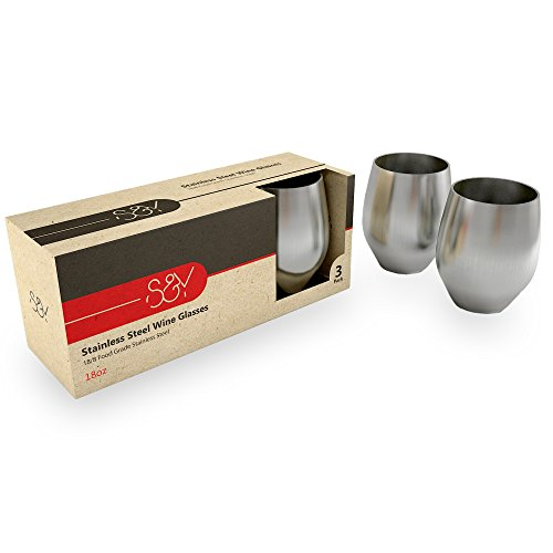 Stemless Wine Glasses – Stainless Steel – Unbreakable and Shatterproof Drinking Tumblers – 3 Pack - Steel Rimmed Glasses