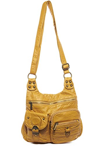 The Aria Crossbody Handbag Hobo Tote Soft Vegan Leather by Ampere Creations (Mustard)