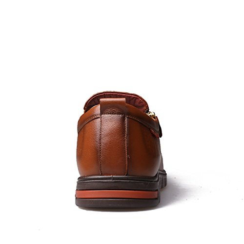 GRRONG Chaussures En Cuir Pour Homme En Cuir Véritable Loisirs Respirant Noir Brun Jaune yellow 5ONXNBFFI5