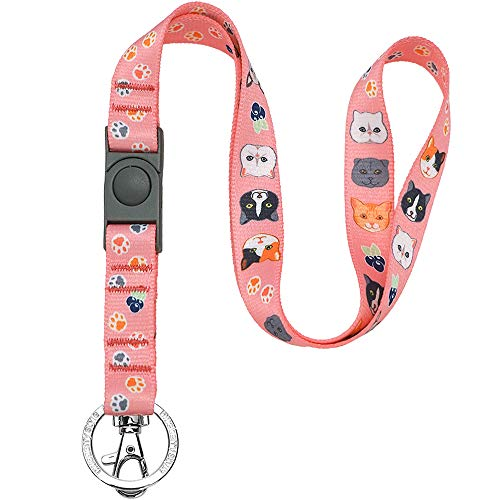 Blueberry Style 2019 New 3 Patterns The Best Cat Lover Women Pretty Pink Cute Breakaway Lanyard Keychain for Keys/ID Card, 3/4