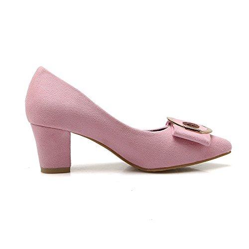 cerrada con mujeres para cerrados bombas sólida VogueZone009 punta Tacones Punta Rosa Zapatos Tirando de wIUggq