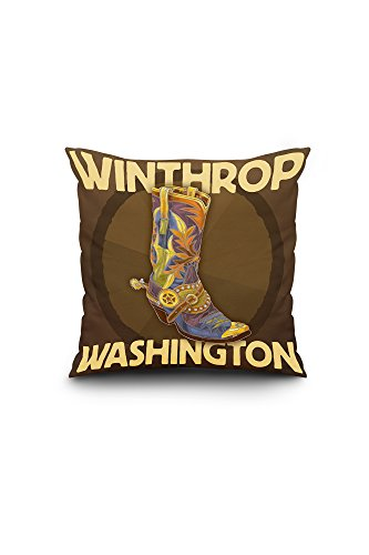 (Lantern Press Winthrop, Washington - Boot Design (16x16 Spun Polyester Pillow, Square))