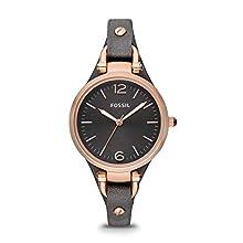 Fossil Women's Georgia Analog-Quartz Leather Watch, Color: Grey, 8 (Model: ES3077)