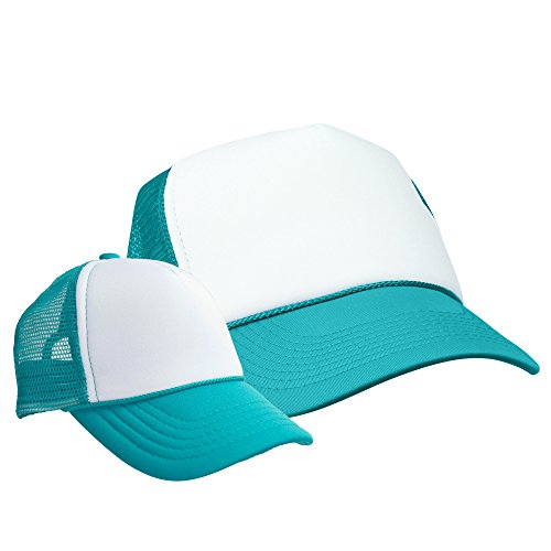 DALIX Mommy and Me Hats Mom and Daughter Father Son Caps Baby Caps Teal White ()