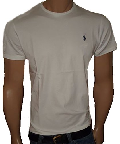 Polo Ralph Lauren Men's Classic Fit Solid Crewneck T-Shirt (X-Large, White / Navy Blue Pony)