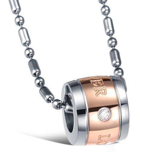 Fekkai Fashion Forever Love Crystal Diamond Rose Gold Titanium Stainless Steel Pendant Necklace For Women (Fekkai Rose)