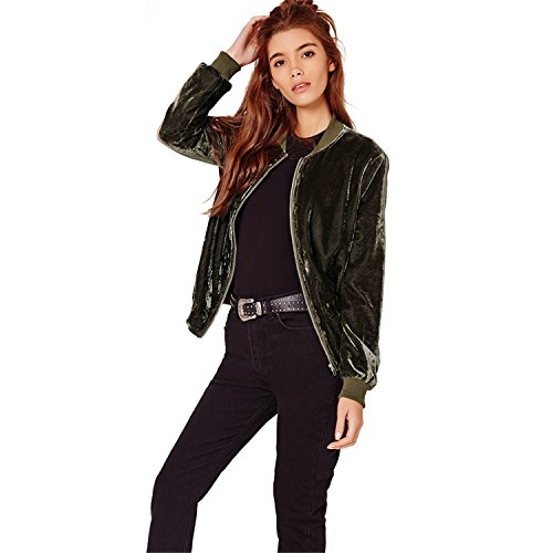 Collar Zip Moda Delantera Vuelo Dark Aviator Bomber Chamarra Flight Zipper Terciopelo Top Aviador de Fabric Cazadora Cremallera Up Verde Stand Chaqueta Jacket fB8Xq