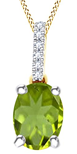 AFFY Oval Cut Simulated Green Peridot White Diamond Solitaire Drop Pendant Necklace in 10K Solid Yellow ()