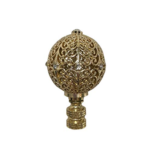 Royal Designs F-5072PB-1 Traditional Filigree Globe with Crystal Embelishments Lamp Finial, Polished Brass