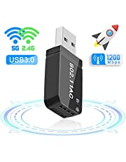 FAGORY Adattatore WiFi USB 3.0 AC 1200Mbps Mini Chiavetta WiFi Antenna Dual Bande 5.8GHz / 2.4GHz Compatibile con Windows 7/8 / 8.1/10 / Mac OS 10.7-10.12 / Mac OSX