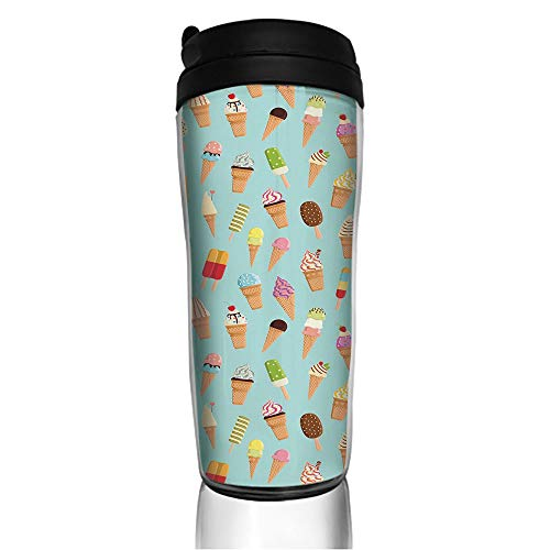 (Stainless Steel Insulated Coffee Travel Mug,Chocolate and Fruit Flavor Toppings in Cones,Spill Proof Flip Lid Insulated Coffee cup Keeps Hot or Cold 11.8oz(350 ml) Customizable printing)