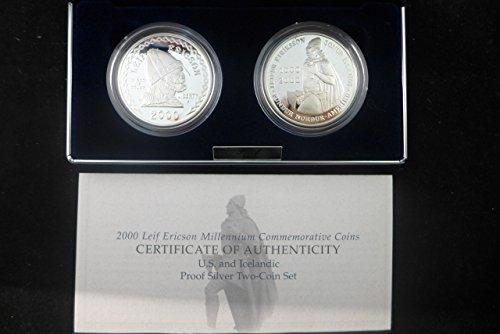 2000 P Leif Ericson Millennium Commemorative Proof Two Piece Set